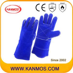 "14""Blue Cowhide Split Leather Welding Industrial Hand Safety Work Gloves (11113)"