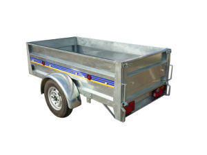 Galvanized Car Trailer Certificate Trailers on Road, 4 Leaf Spring Armor Plate Axle