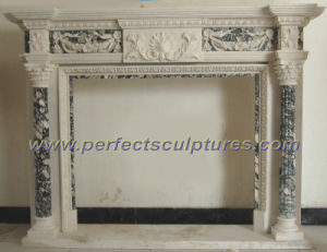 Stone Marble Fireplace Mantel for Home Decoration (QY-LS357) pictures & photos