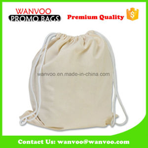 Plain White Custom Backpack Type Canvas School Drawstring Backpack pictures & photos