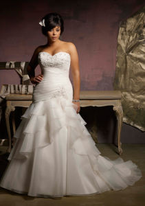 Plus Size Organza Mermaid Bridal Wedding Dress (Ogt3002A)