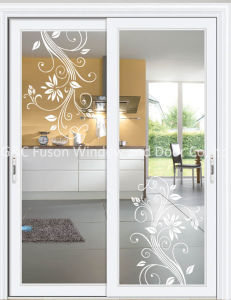 Aluminum Glass Sliding Door (Wood grain style) pictures & photos