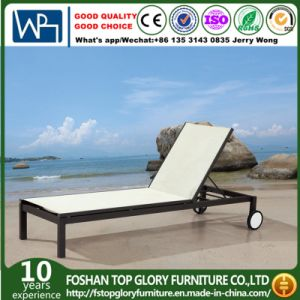 Recline Beach Lunger Outdoor Textilene Chaise Lounger with Wheels (TG-812) pictures & photos