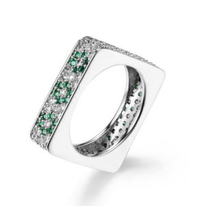 Hot Selling Fashion Costume Match Jewelry 925 Silver Square Ring