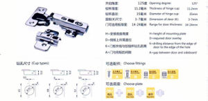 125 Degree Clip on Hinge Two Way (KEY HOLE) pictures & photos
