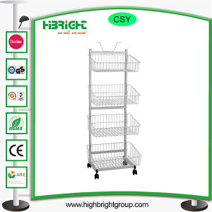 Pop Wire Basket Rolling Floor Display Stand for Snacks pictures & photos