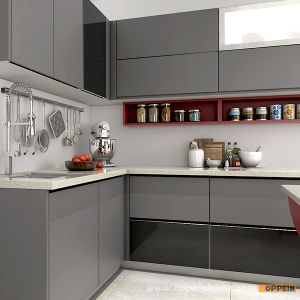 Modern High Quality Tempered Glass Wooden Lacquer Kitchen Cabinet (OP15-L38) pictures & photos