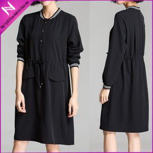 Long Sleeve Lady′s Comfy Waisted Casual Dress