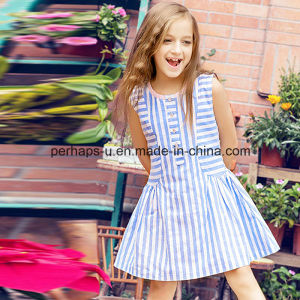 High Quality Fashion Apparel Striped Sleeveless Girls Dress Children Wear pictures & photos