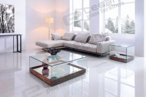 New Bent Glass Tea Table with Movable Mirror Bottom pictures & photos