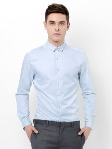 OEM Factory Price Light Blue Non-Iron Cotton Dress Shirt pictures & photos