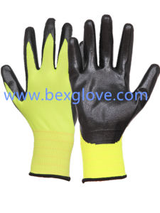 13 Gauge Fluores Polyester Liner Nitrile Glove pictures & photos