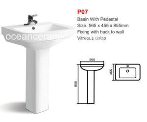 Basin with Pedestal No. P07 Rectangular Wash Basin Bathroom Basin pictures & photos