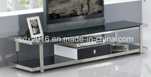 1.2mm Thickness Stainless Steel Frame Tempered Glass on Top TV Stand Dg002 pictures & photos