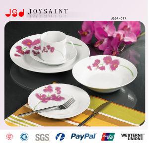 Flower Decal Round Ceramic Porcelain 18PCS Dinnerware pictures & photos