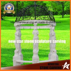 White Marble Gazebo with Women Statue Carving pictures & photos