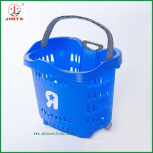 Blue Plastic Supermarket Shopping Basket with Single Handle (JT-G04) pictures & photos