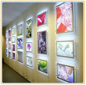 Hot Edge Lit A4 LED Crystal Wall Hanging Light Box pictures & photos