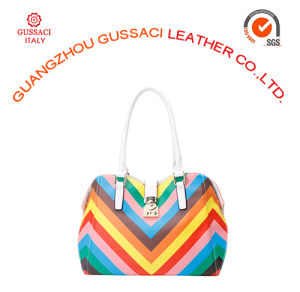 Luxury Style Graceful Rainbow Leather Swing Lock Tote Bag
