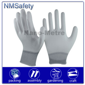 Nmsafety Palm Fit PPE White PU Coated Work Safety Glove pictures & photos