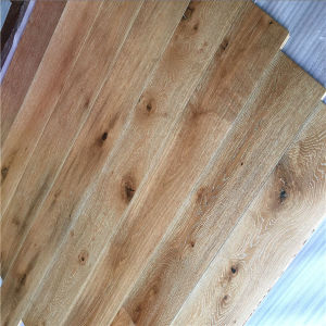 Factory Made Wide Plank White Brushed Multilayer Oak Wood Floors pictures & photos