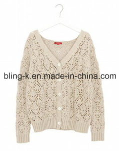 Classical V-Neck Cotton Knitted Cardigan for Women/Ladies