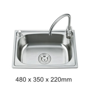 Ss201 One Piece Forming Stainless Steel Kitchen Sink (S4835)