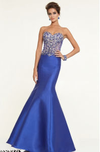 2015 Beaded Satin Mermaid Bridesmaid Evening Prom Dresses Pd9706 pictures & photos