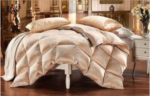 2016 New Design Jacquard Silk Cover White Goose Down Duvet