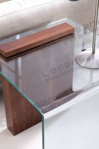 Small Glass Side Table with Chou-Heung Veneer pictures & photos