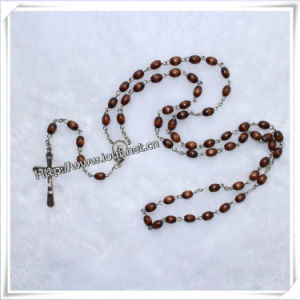 New Style Brown Oval Beads Pray Rosaries, Wooden Rosary (IO-cr008) pictures & photos