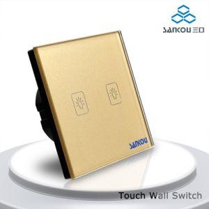 Sankou 220V-250V Gold Glass Panel 2gang 2 Way Touch Wall Light Switch
