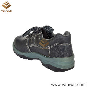 Black Leather Working Safety Shoes with Breathable Mesh Lining (WSS011) pictures & photos