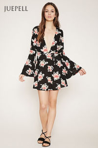 Fashion Deep V Neck Floral Print Horn Sleeve Dress pictures & photos