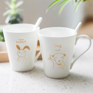 Custom-Made 250ml Ceramic Couple Mug for Coffee with Animal Design pictures & photos