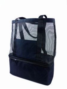 Multifunction Rubber Mesh Handle Beachbag with Coolerbag (12can) pictures & photos
