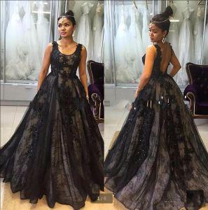 A-Line Prom Dresses Vestidos Black Lace Party Evening Dresses N16076 pictures & photos