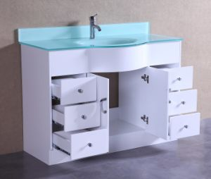 Tempered Glass Vanity Top Single Basin Bathroom Vanity T9229-48W pictures & photos