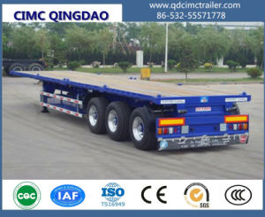 Cimc 40FT Flatbed/Flat Top/Platform Semi Truck Trailer with Air Suspension and Single Tire Truck Chassis pictures & photos