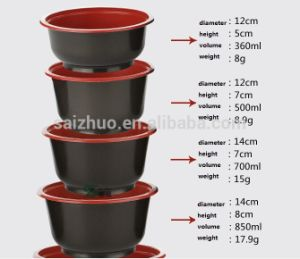 360ml Red Black Injection Disposable Plastic Hot Soup Bowl pictures & photos