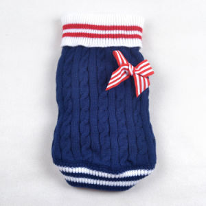 Quality Sailor Pet Products Knitting Bowknot Dog Sweaters pictures & photos
