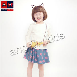 Children′s Cotton Red Lip Printed Short Skirt for Summer pictures & photos