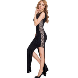 Sexy Women′s Sequin Lace Trim Maxi Party Dress pictures & photos