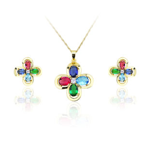 Colorful Lucky Four Leaf Clover Crystal Jewelry Set! Fashion Four Leaf Clover Crystal Jewelry pictures & photos