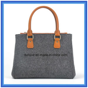 Factory Manufacture Wool Felt Casual Shopping Handle Bag, Hot Promotion Carrier Handbag with PU Leather Comfortable Handle pictures & photos