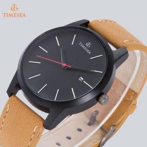 Custom Logo Watches Wholesale Men′s Watch with Faux Leather Strap72213 pictures & photos