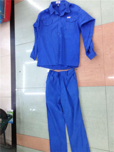 Blue Cheap 2PCS Set Pant&Shirt Dubai Workwear Factory Uniforms Cotton Clothing pictures & photos