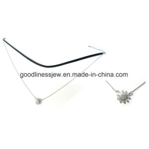 Simple Silver Necklace with Leather and Charms (N6856) pictures & photos