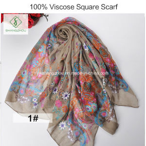 100% Viscose Polyester Floral Printed Shawl Salable Square Scarf pictures & photos