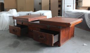 Antique Brown Leather Coffee Table, Retro Coffee Table pictures & photos